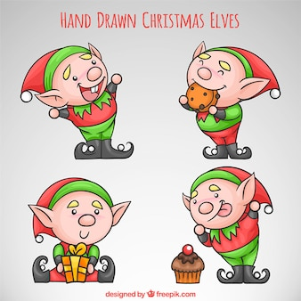 Hand drawn funny christmas elves