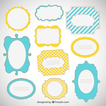 Hand drawn funny frames in retro style