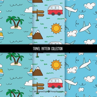 Hand drawn funny travel pattern collection