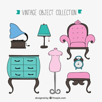 Hand drawn furniture collection in vintage style