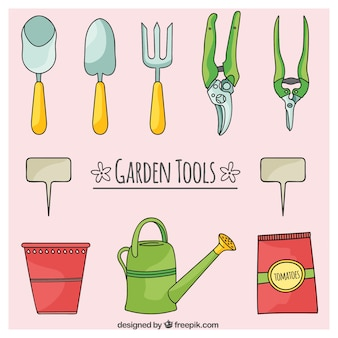 Hand drawn garden tools and watering can