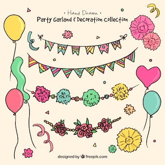 hand-drawn garlands and balloons collection