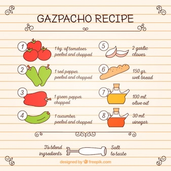 Hand drawn gaspacho recipe