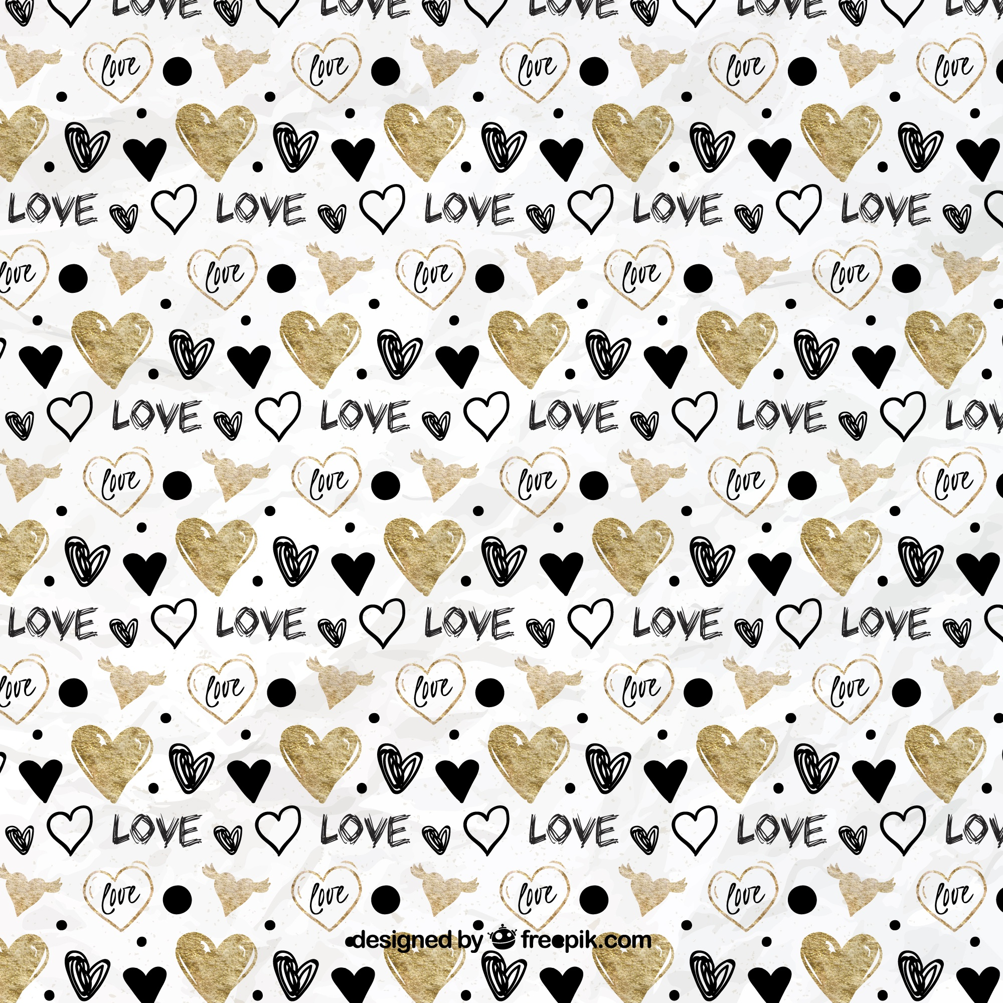 Hand drawn golden and black hearts pattern
