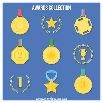 Hand drawn golden medals with laurel wreath