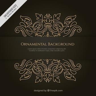 Hand drawn golden ornamental background
