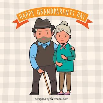 手描きの祖父母カップルの背景