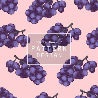 Hand drawn grape fruit pattern background