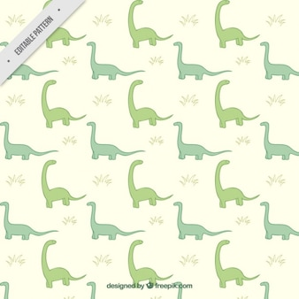 Hand drawn green dinosaurs pattern