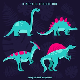 Hand drawn green dinosaurs with pink details