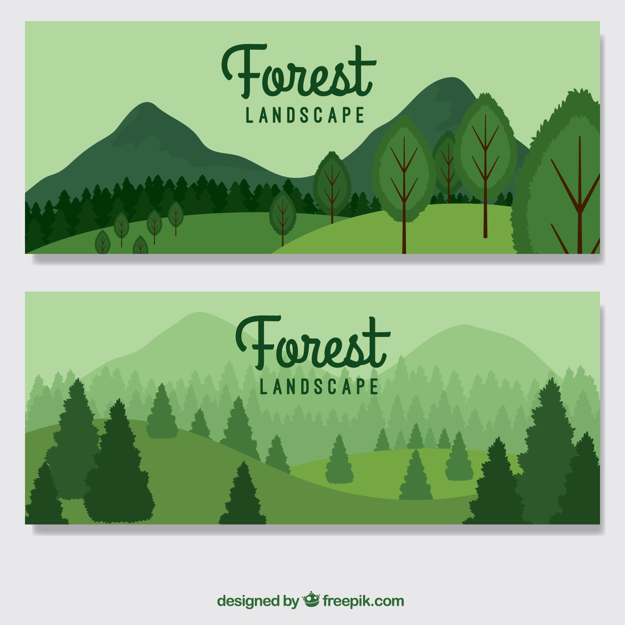 Hand drawn green forest banners
