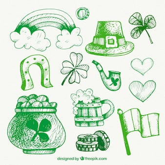 Hand drawn green ST. Patrick's day elements
