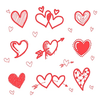 Hand drawn grunge red hearts set