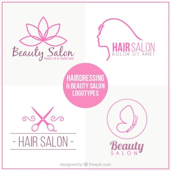 Hand drawn hairdressing logos set