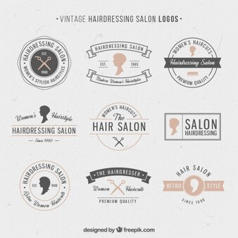 Hand drawn hairdressing salon logos