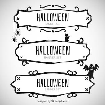 hand drawn halloween banners