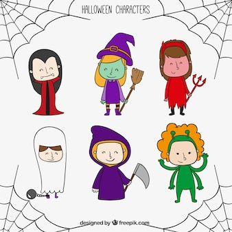 Hand drawn halloween characters