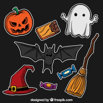 Hand drawn halloween elements