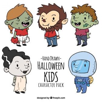 Hand-drawn halloween kids collection