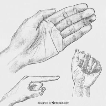 Hand drawn hands posing