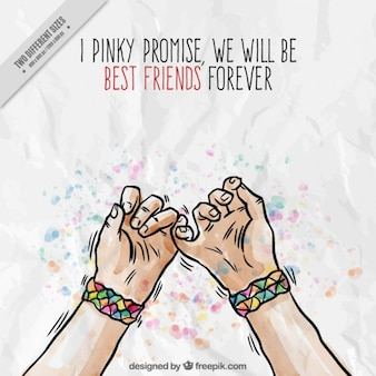 Hand drawn hands with symbol friendship background