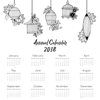 Hand Drawn Hanging Cage Calendar 2018