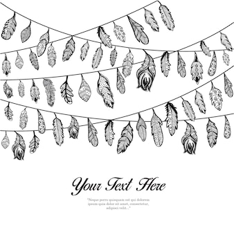 Hand Drawn Hanging Feathers Background