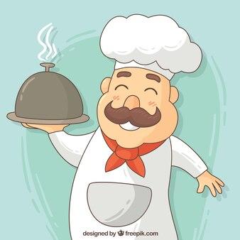Hand drawn happy chef background