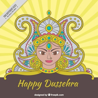 Hand drawn happy dussehra ornamental background