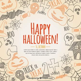 Hand drawn happy halloween background