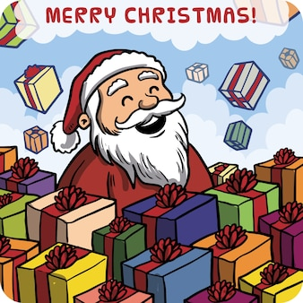 Hand drawn happy santa claus card