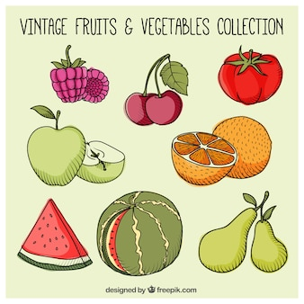Hand drawn healthy fruits