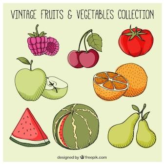 Hand drawn healthy fruits