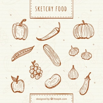 Hand drawn healthy vegetables and fruits