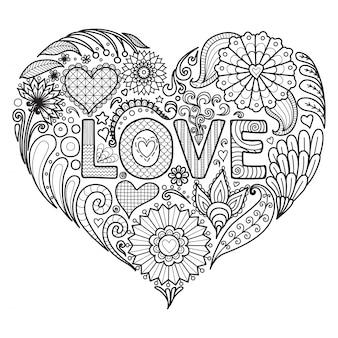 Hand drawn heart background