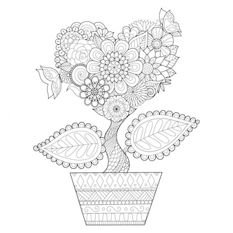 Hand drawn heart plant