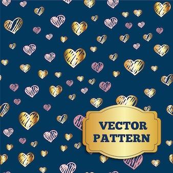 Hand drawn hearts pattern background