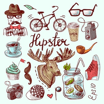 Hand drawn hipster elements