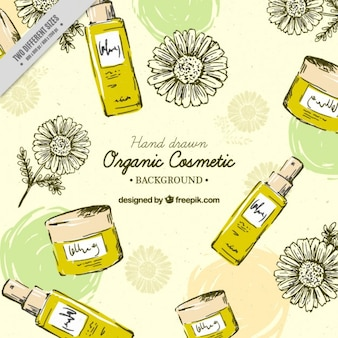 Hand drawn honey beauty products background