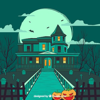 Hand drawn house with spooky style