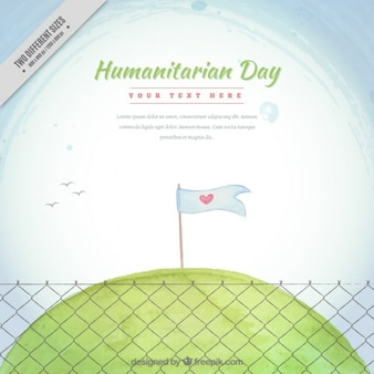 Hand drawn humanitarian day background with a peace flag in a meadow
