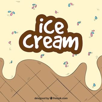 手描きのアイスクリームの背景