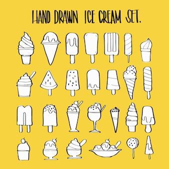 Hand drawn ice cream collection set, illustration vector design.