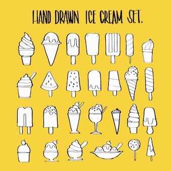 手描きのアイスクリームコレクションセット、イラストベクターデザイン。