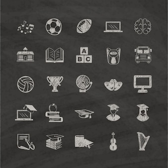 Hand drawn icons about education on a black background