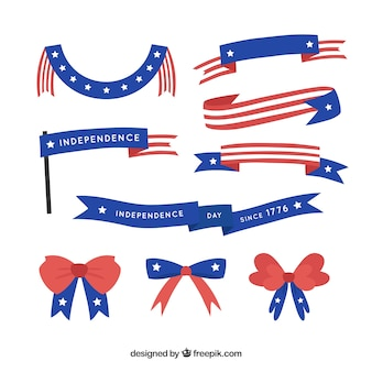 Hand drawn independence day ribbons and bows