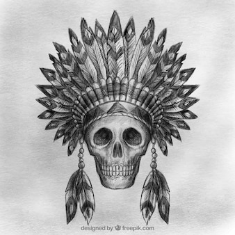Hand drawn indian ancient skull