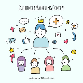 Hand drawn influencer marketing concept