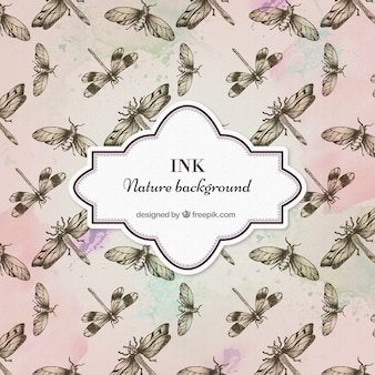Hand drawn insects pattern