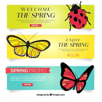 Hand drawn insects spring banners